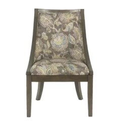 Floral Upholstered Chair Tufted Leather Dining Wayfair Rawley Industrial