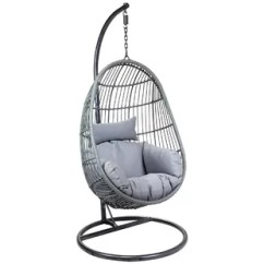 Egg Chair Swing Wicker Accent Chairs Swinging Garden Wayfair Co Uk Horowitz Rattan Shaped With Stand