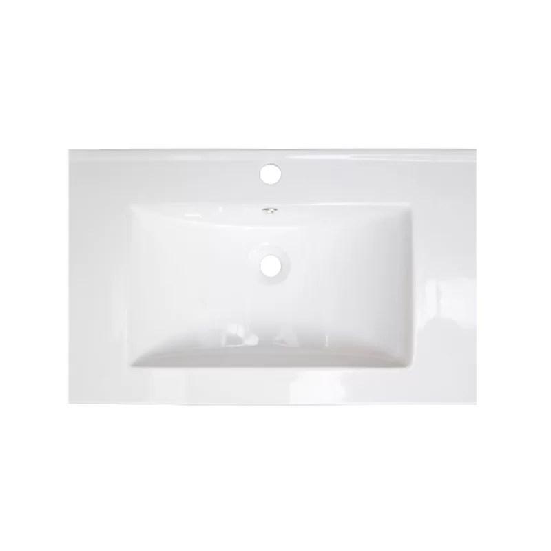 Flair Ceramic Rectangular Drop-In Bathroom Sink with  Over Flow