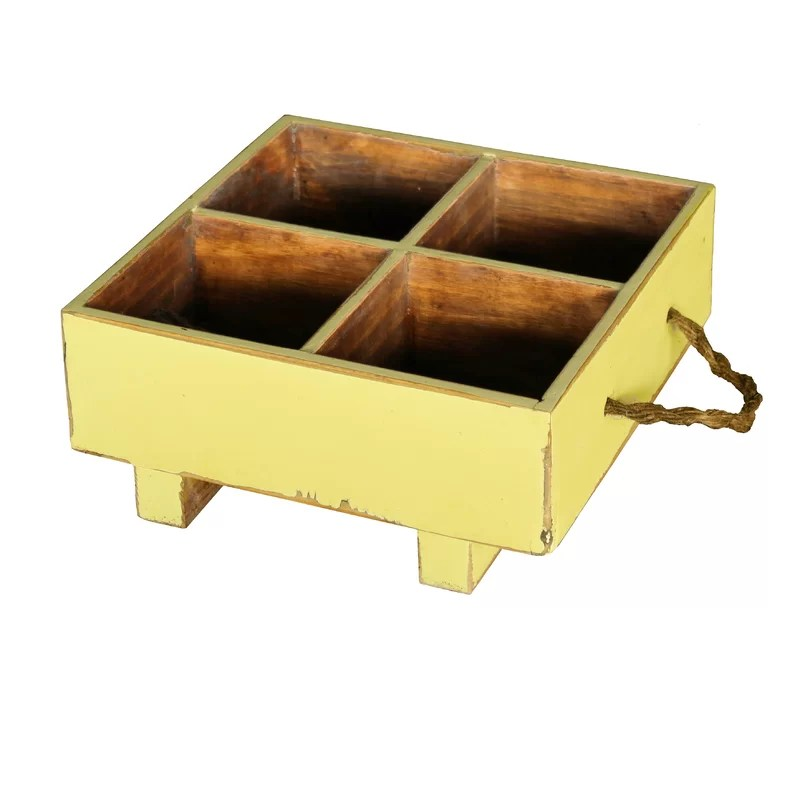 Ira Distressed Square Milk Crate with Rope Handles Color: Butter