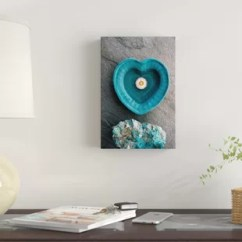 Gray And Turquoise Living Room Tall Side Tables Wall Art Wayfair Heart Photographic Print On Canvas