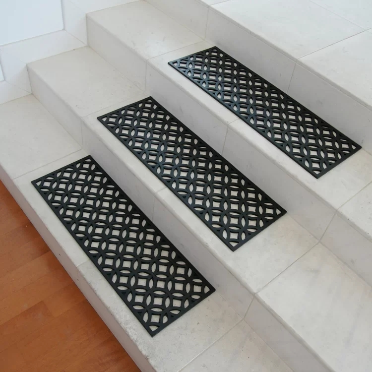 Rubber Cal Inc Azteca Rubber Stair Tread Set Reviews Wayfair   Exterior Rubber Stair Treads   Solid Weathered   Luxury Vinyl Stair   14 Inch Deep   Vinyl Covered   Pattern