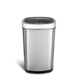 stainless steel kitchen trash can dark wood cabinets cans you ll love wayfair 13 2 gallon motion sensor