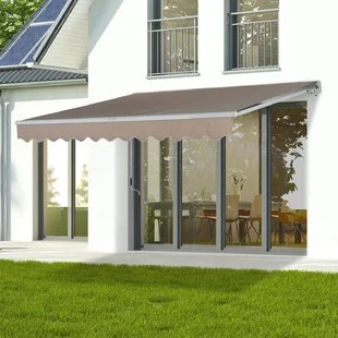 manual retraction slope patio awning
