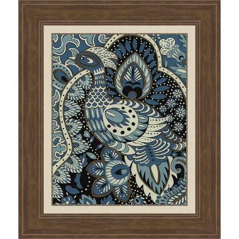 Trends Indigo Peacock II Framed Graphic Art