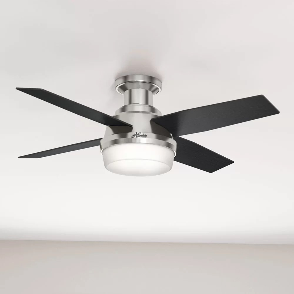 hight resolution of hunter fan 44 dempsey low profile 4 blade ceiling fan with remote light kit included reviews wayfair
