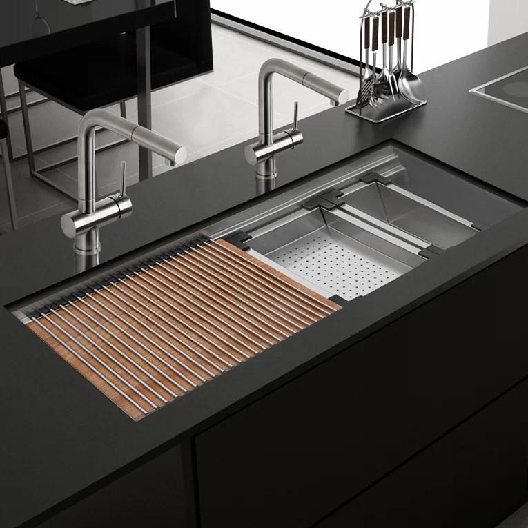 roma ledge 45 l x 19 w undermount kitchen sink with basket strainer