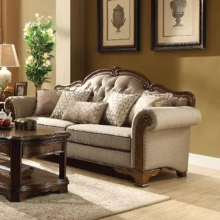 wood frame sofa designs costco bed canada carved wayfair mundell royal wooden