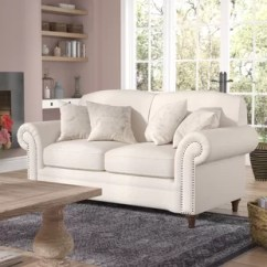 French Linen Tufted Sofa Grey Microsuede Bed Country Loveseats You Ll Love Wayfair Quickview