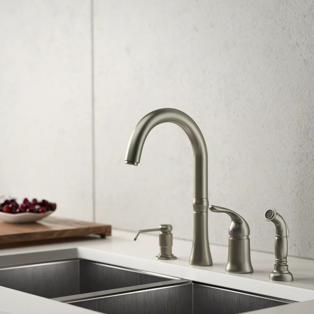 4 hole standard single handle kitchen faucet with side spray and soap dispenser