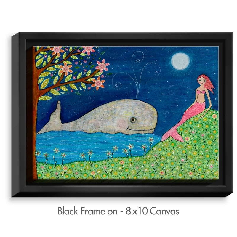 Whale Mermaid by Sascalia Painting Print on Wrapped Framed Canvas Size: 17.75 H x 21.75 W x 1.75 D Frame Color: Black