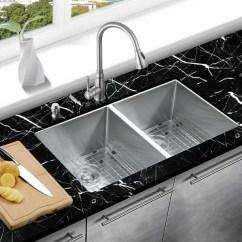 Kitchen Sink Grates Clogs Mowa Handmade 33 L X 19 W Double Basin Undermount With Grid