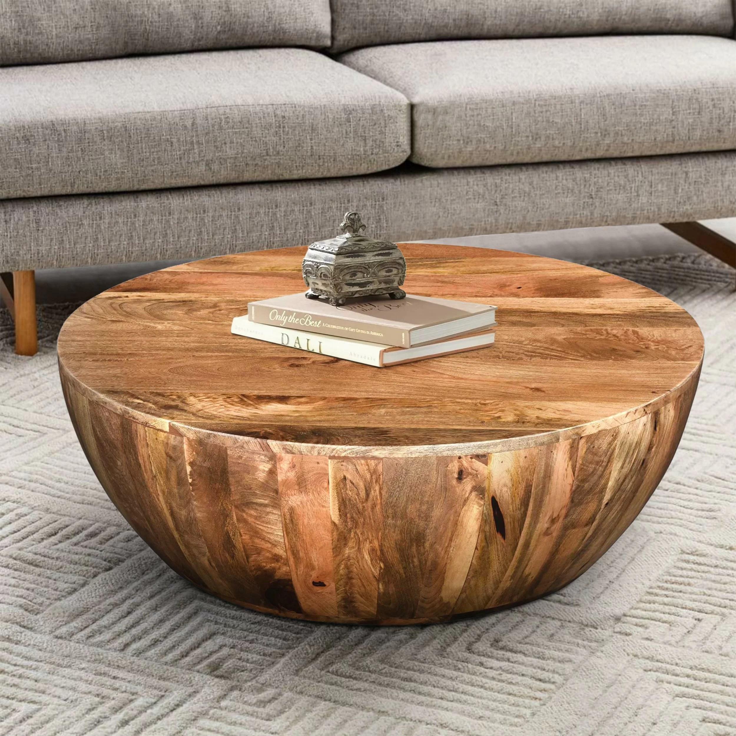 Union Rustic Beliveau Solid Wood Drum Coffee Table Reviews Wayfair