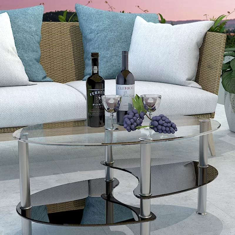 Oval Glass Coffee Table With Storage