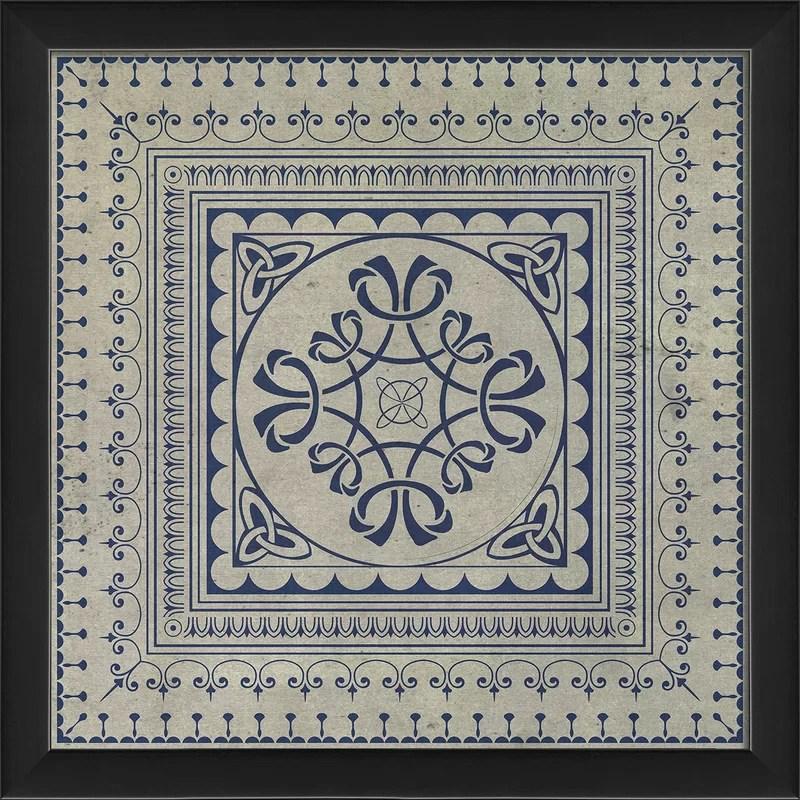 Tile 8 Framed Graphic Art Color: Blue