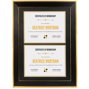14x20 classic gold design black double diploma frame black over gold double mat for two 8 5x11 inch certificates and documents sawtooth hangers