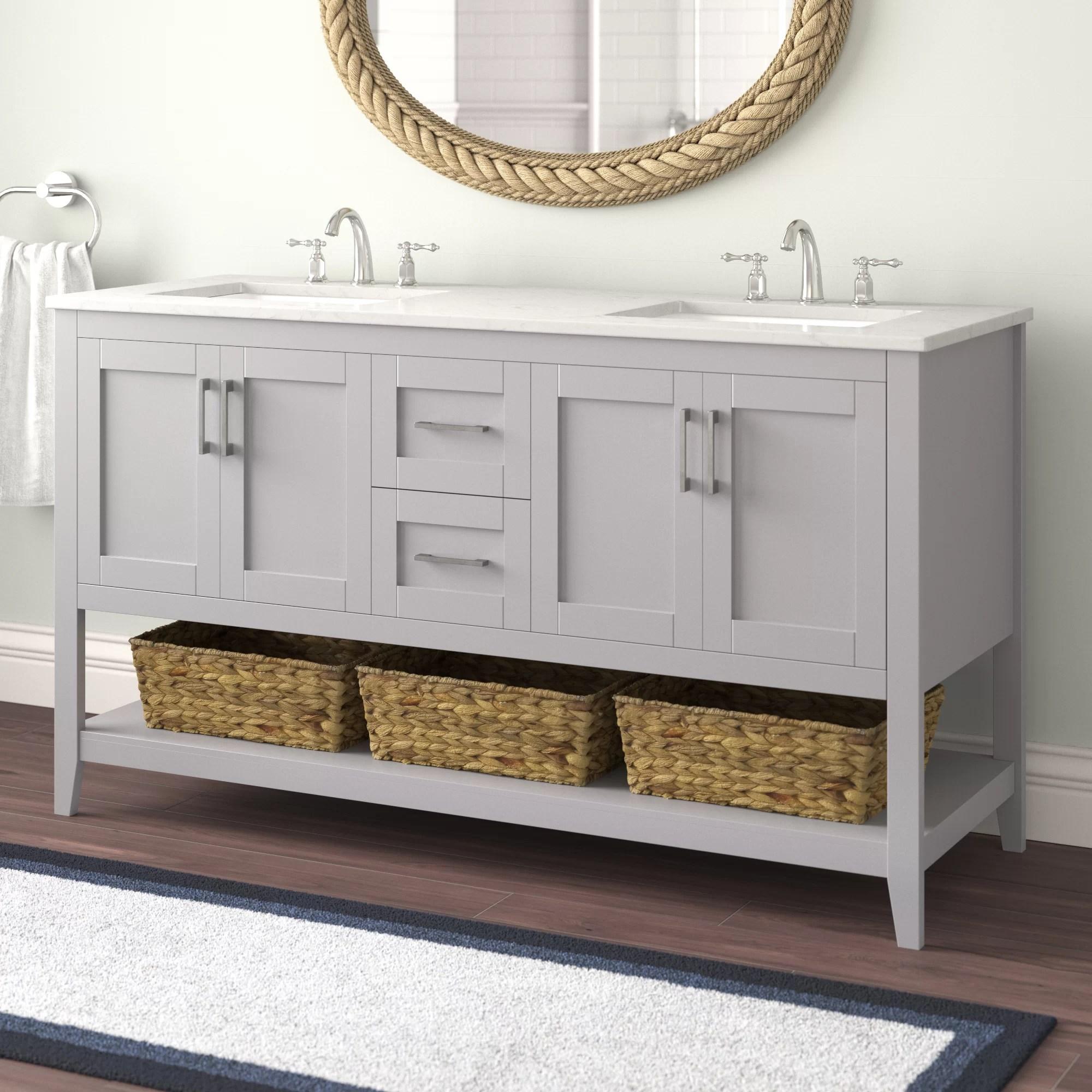 Beachcrest Home Caoimhe 60 Double Bathroom Vanity Set Reviews Wayfair