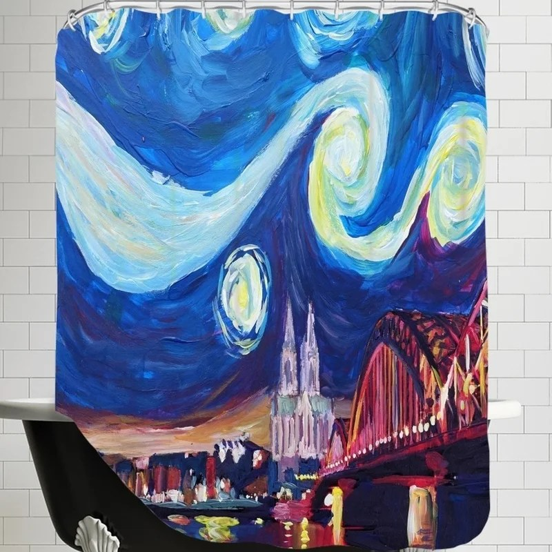 Swofford Markus Bleichner Starry Night in Cologne Single Shower Curtain