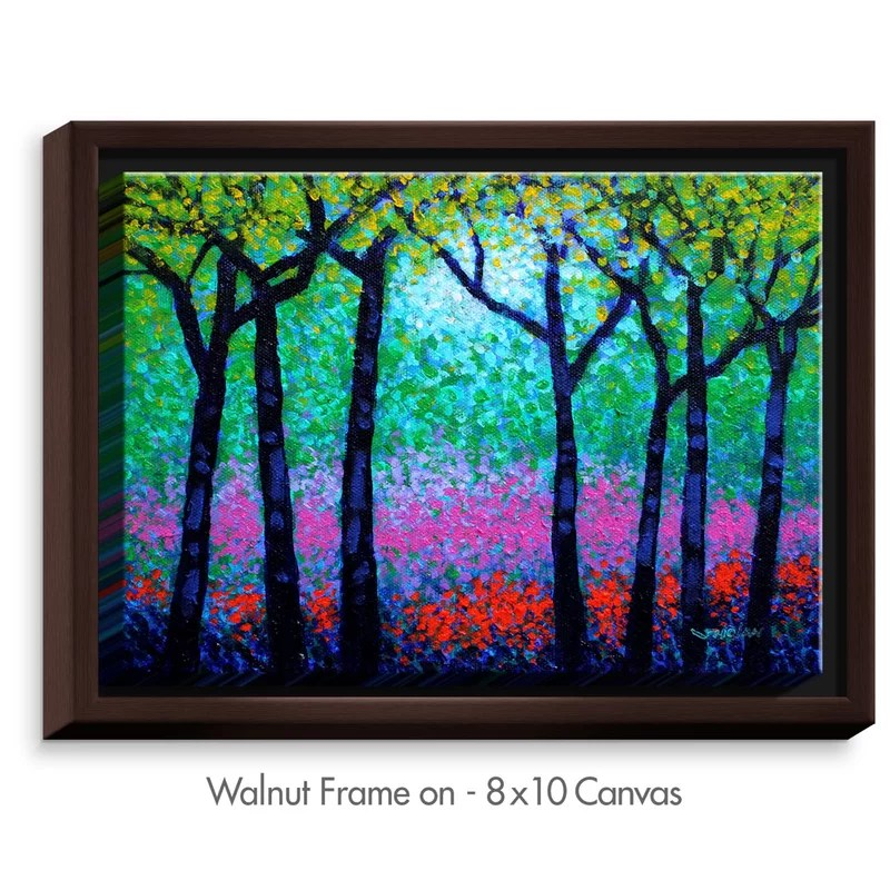 Spring Woodland by John Nolan Painting Print on Wrapped Framed Canvas Size: 17.75 H x 21.75 W x 1.75 D Frame Color: Walnut