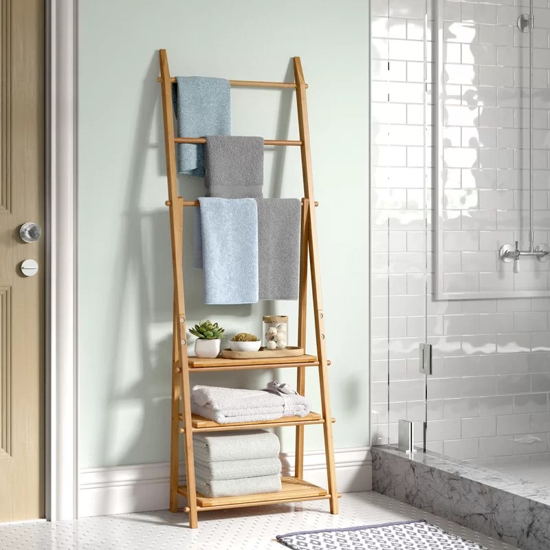 ault bamboo free standing towel rack