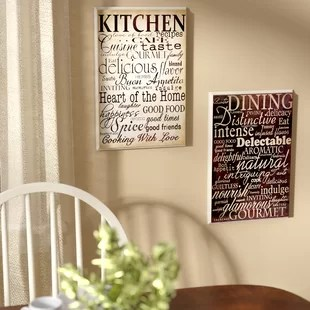 pictures for kitchen wall 5 piece table sets walls wayfair isabell dining and 2 textual art plaque set