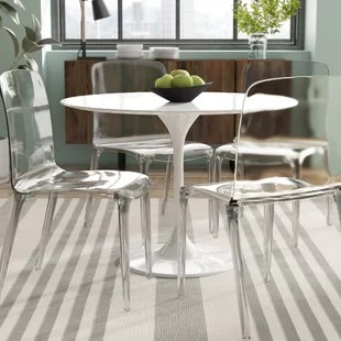 silver metal dining chairs folding chair weight limit clear lucite wayfair maryln set of 4