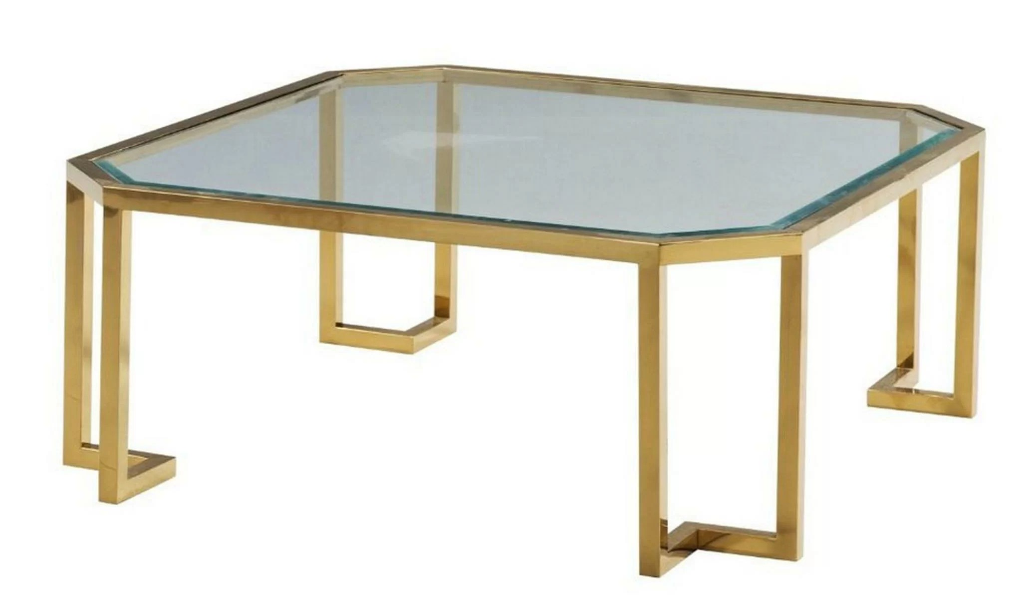 glass top coffee table with clipped corner and metal tube base silver