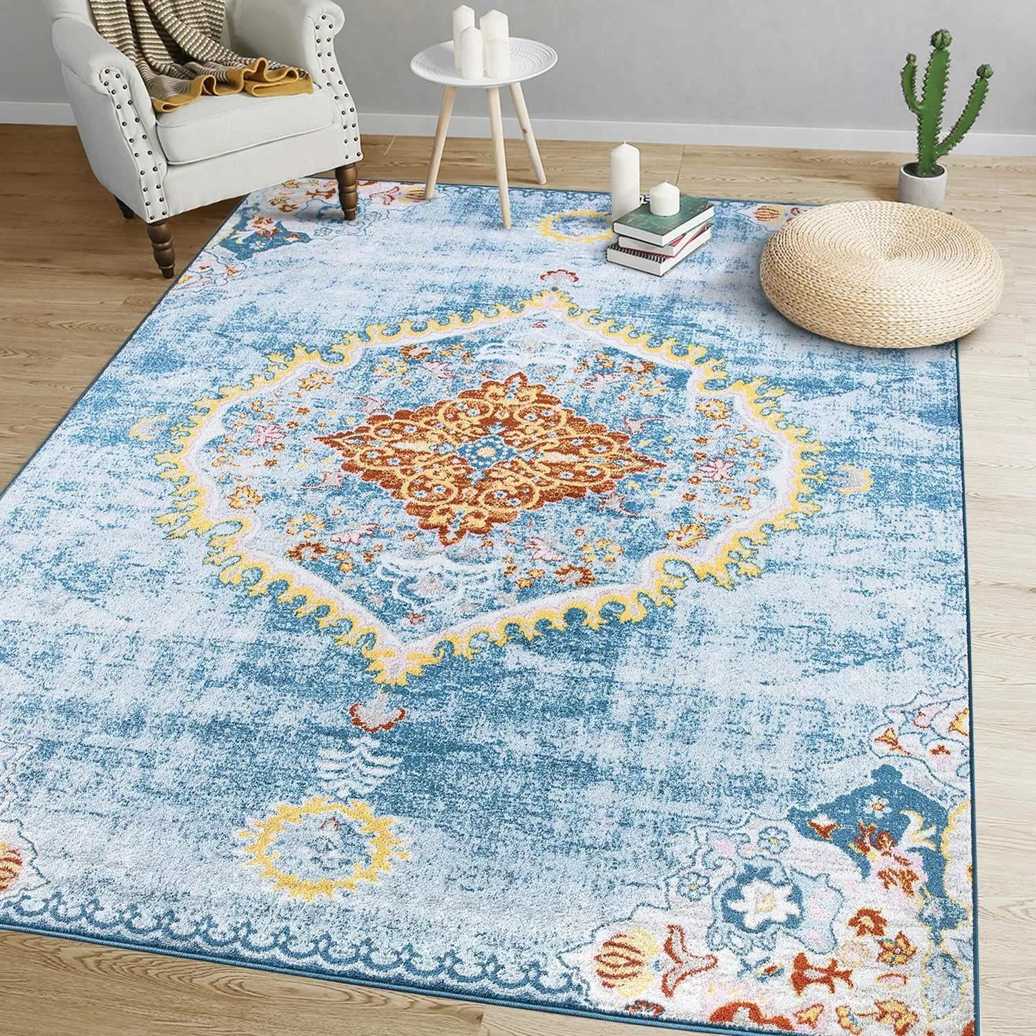 Bungalow Rose Stansbury Oriental Light Blue Yellow Area Rug