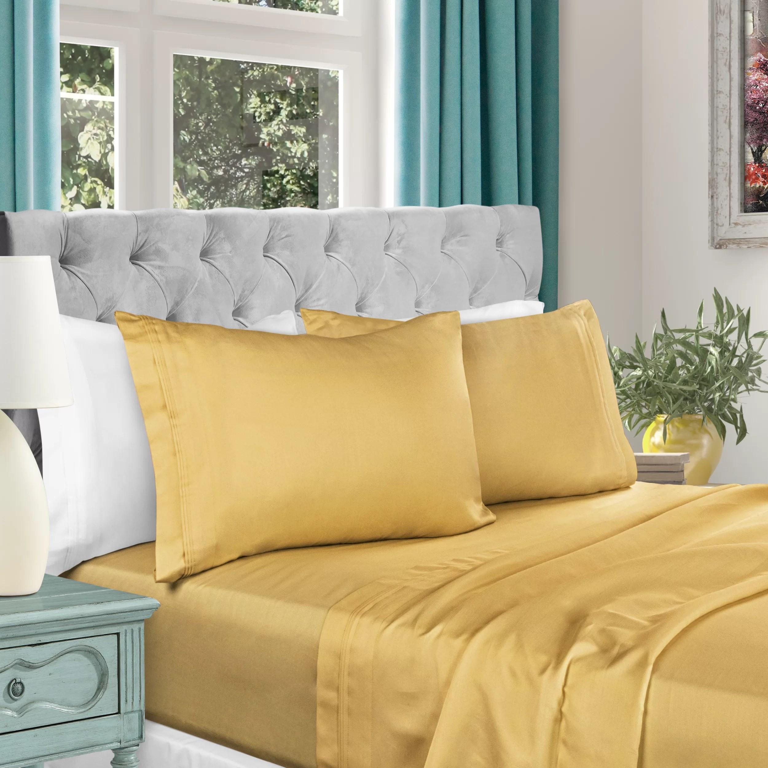 sets yellow gold sheets pillowcases
