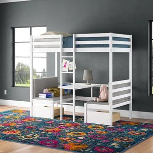 bain twin loft bed with desk and drawers