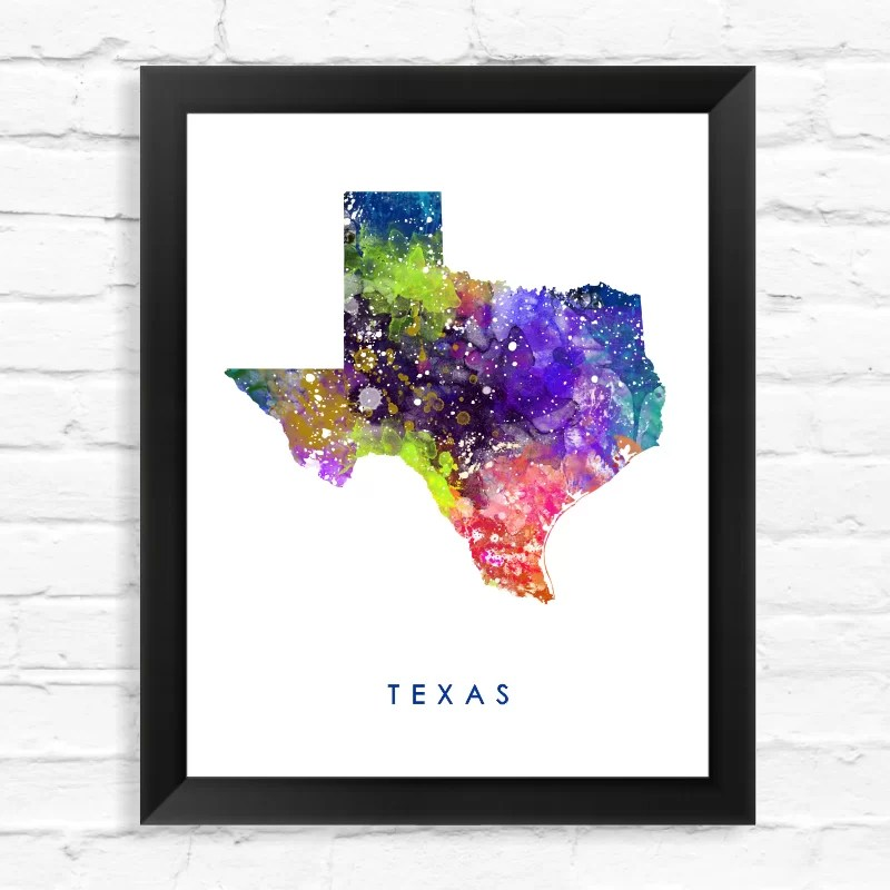 Texas Map Watercolor Framed Graphic Art Size: 15 H x 12 W x 1 D