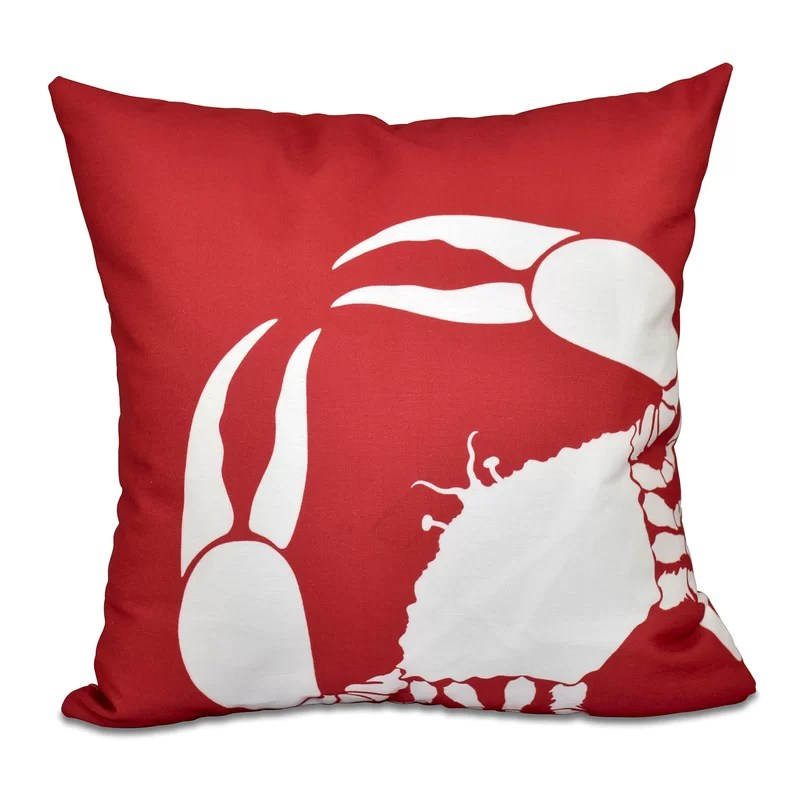 Shirley Mills Crab Dip Animal Print Throw Pillow Size: 20 H x 20 W Color: Coral