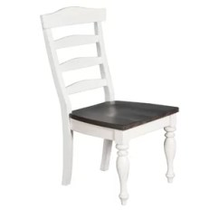 White Ladder Back Chairs Rush Seats Elastic Chair Seat Covers Ladderback Wayfair Villepinte Dining