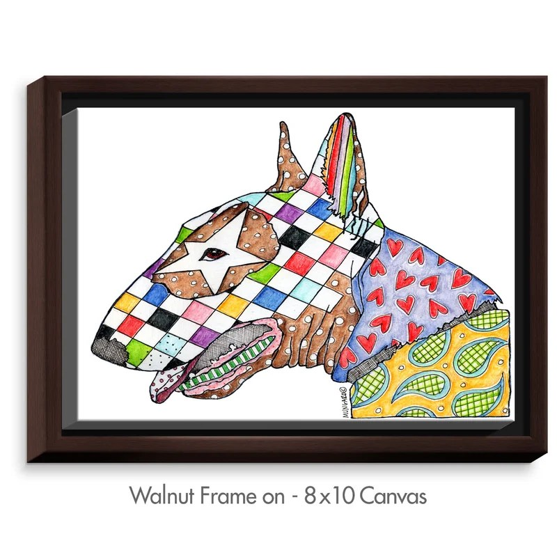Bull Terrier Dog by Marley Ungaro Painting Print on Wrapped Framed Canvas Size: 12.75 H x 15.75 W x 1.75 D Frame Color: Walnut