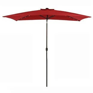 26 led solar patio rectangular umbrella outdoor 10 x 6 5ft market table aluminumumbrella with tilt and crank waterproof sunshade canopy 6 ribs