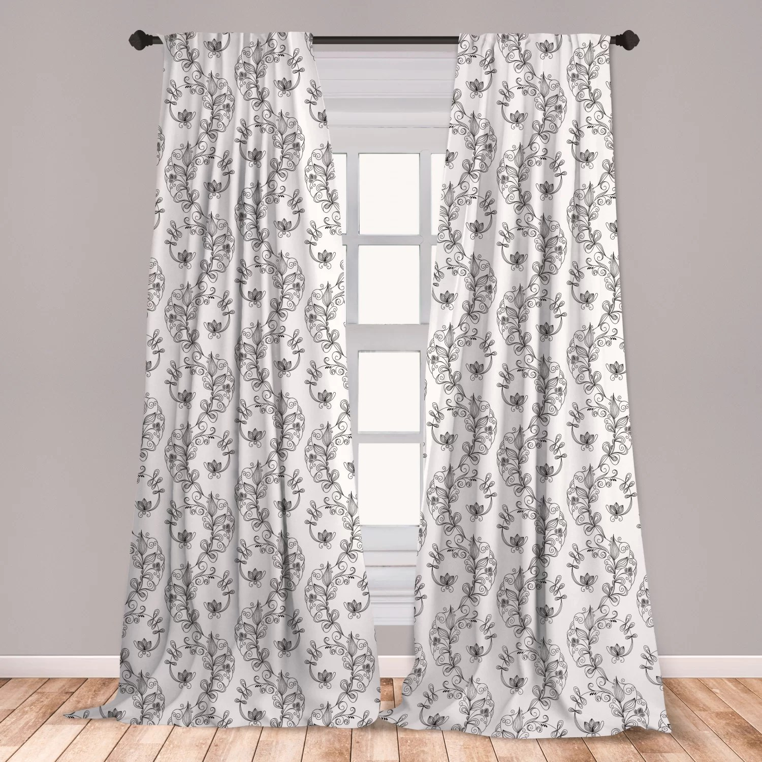 ambesonne black and white curtains scroll and swirls pattern with tiny stems full of leaves and lilies window treatments 2 panel set for living room