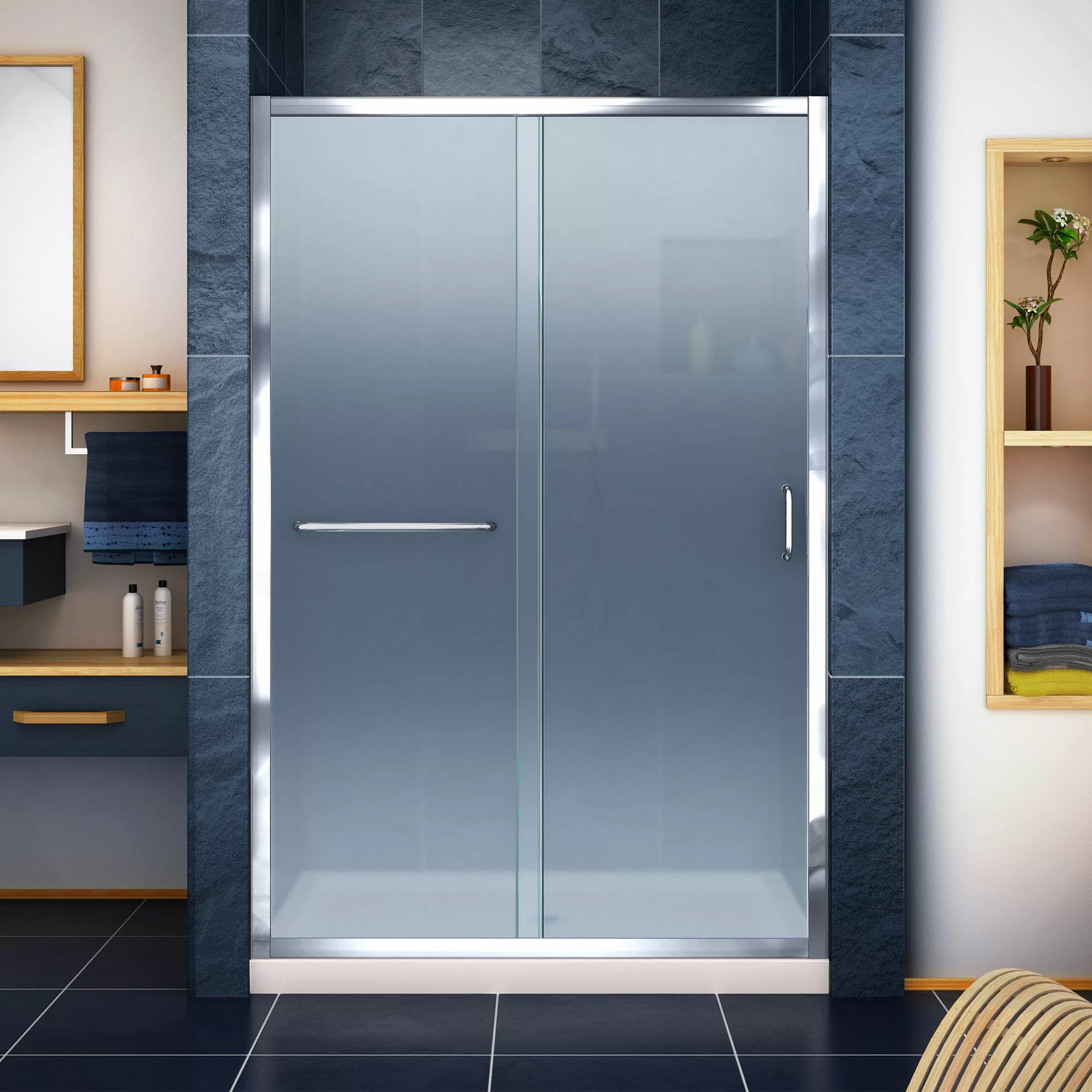 Infinity Z Frosted 48 X 74 75 Rectangle Sliding Shower Enclosure With Base