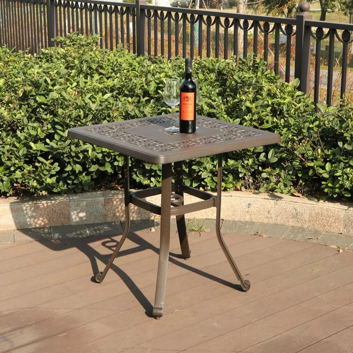patio square cast aluminum bistro table