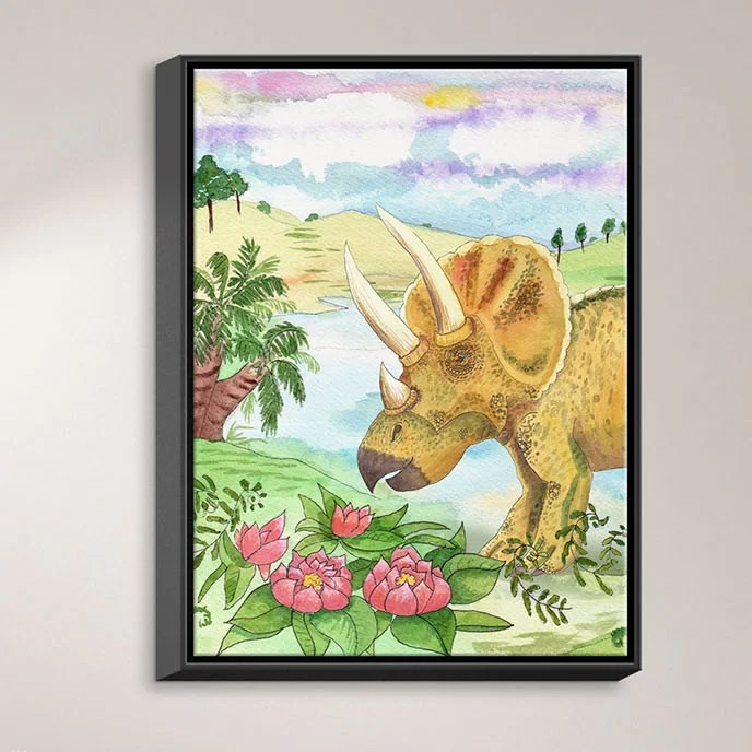 Dinosaur II by Catherine Holcombe Painting Print on Wrapped Framed Canvas Size: 41.75 H x 31.75 W x 1.75 D Frame Color: Black