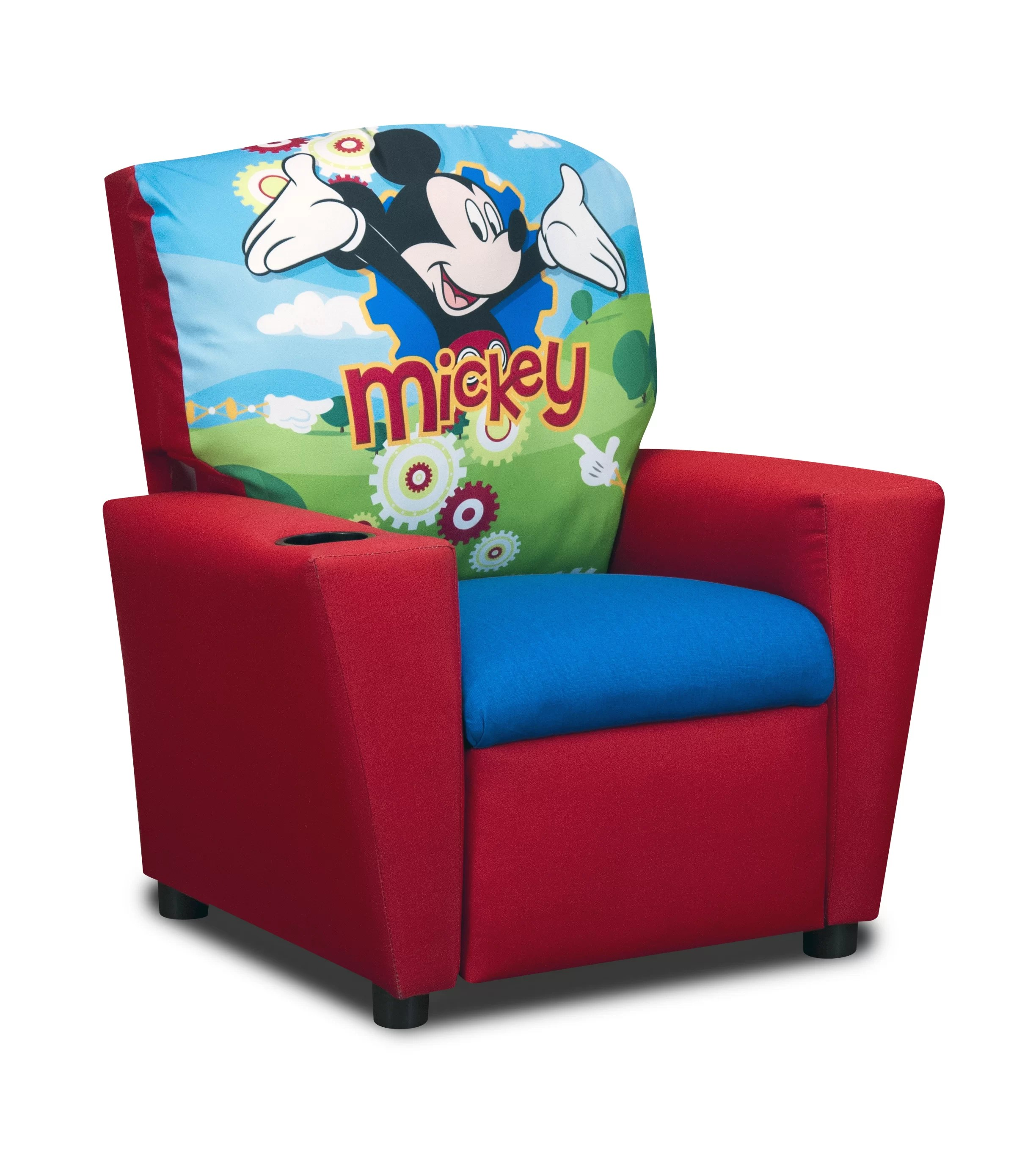 mickey mouse clubhouse chair desk gold kidzworld disney s kids cotton recliner with cup holder reviews wayfair