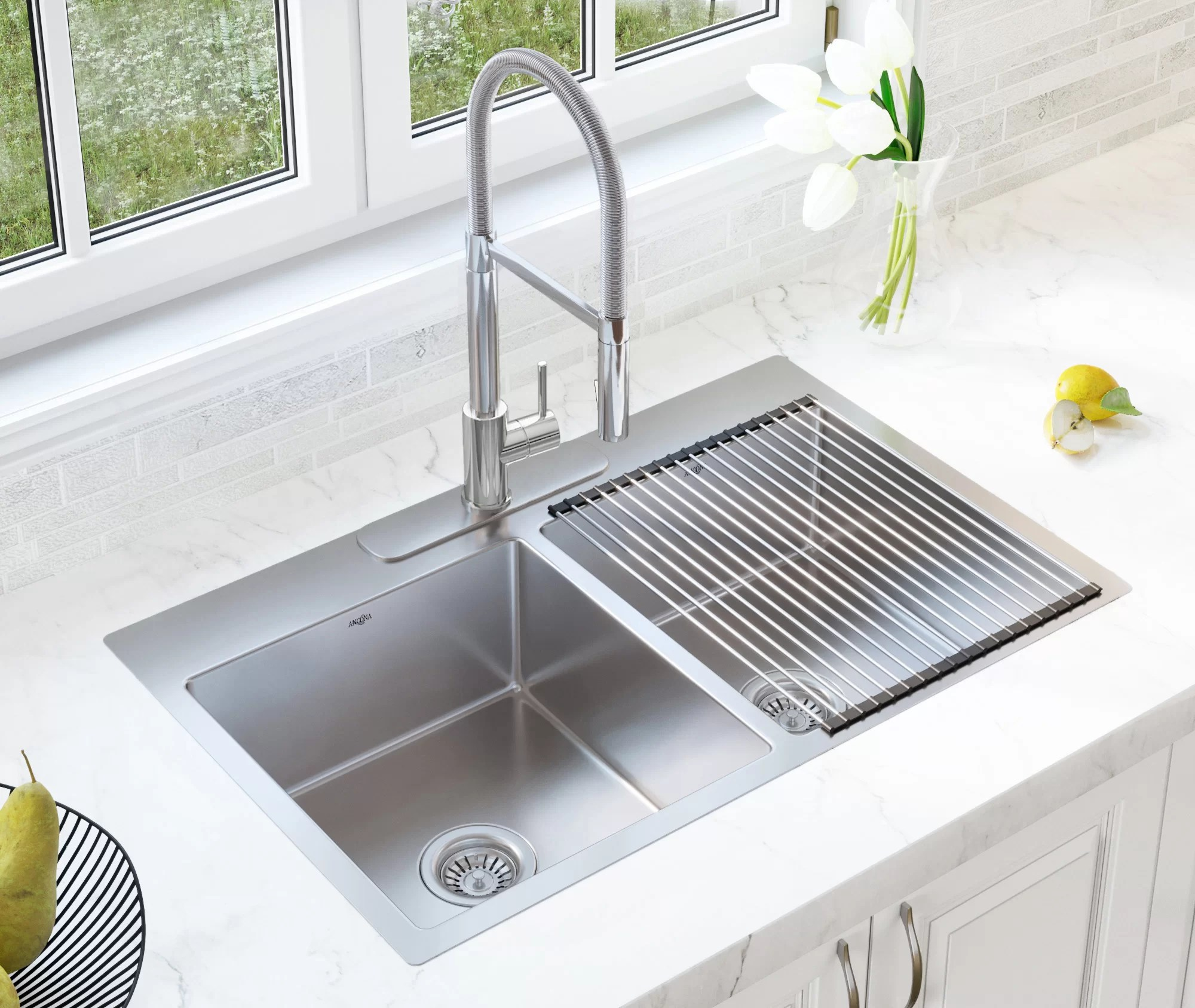 single handle faucet combo 33 l x 22 w double basin dual mount kitchen sink with faucet and basket strainer