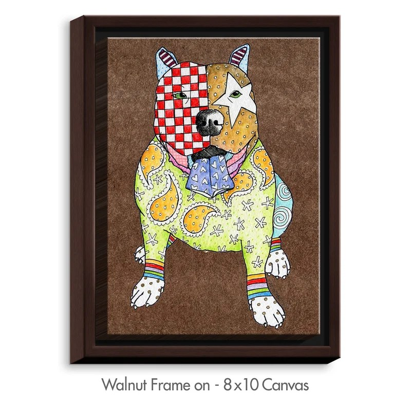 Pitbull by Marley Ungaro Painting Print on Wrapped Framed Canvas Size: 41.75 H x 31.75 W x 1.75 D Frame Color: Walnut