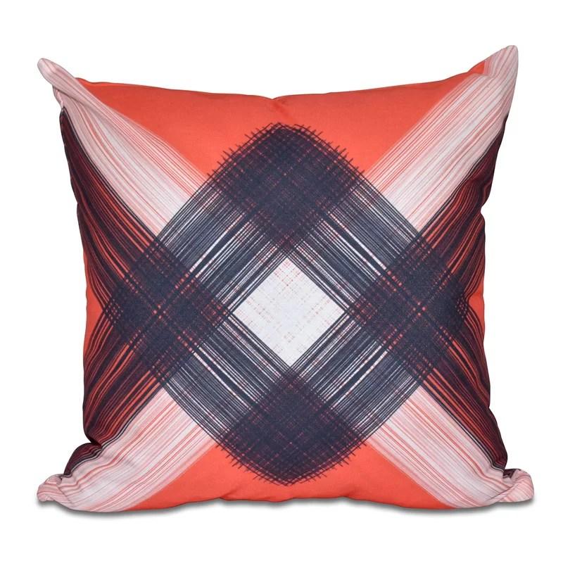 Hancock String Art Geometric Print Throw Pillow Size: 18 H x 18 W Color: Orange