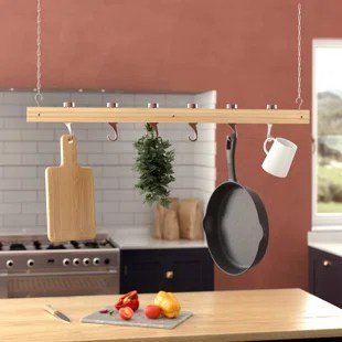 kitchen pot hangers cabinet inserts ideas racks you ll love wayfair ca ceiling mounted wooden hanging rack