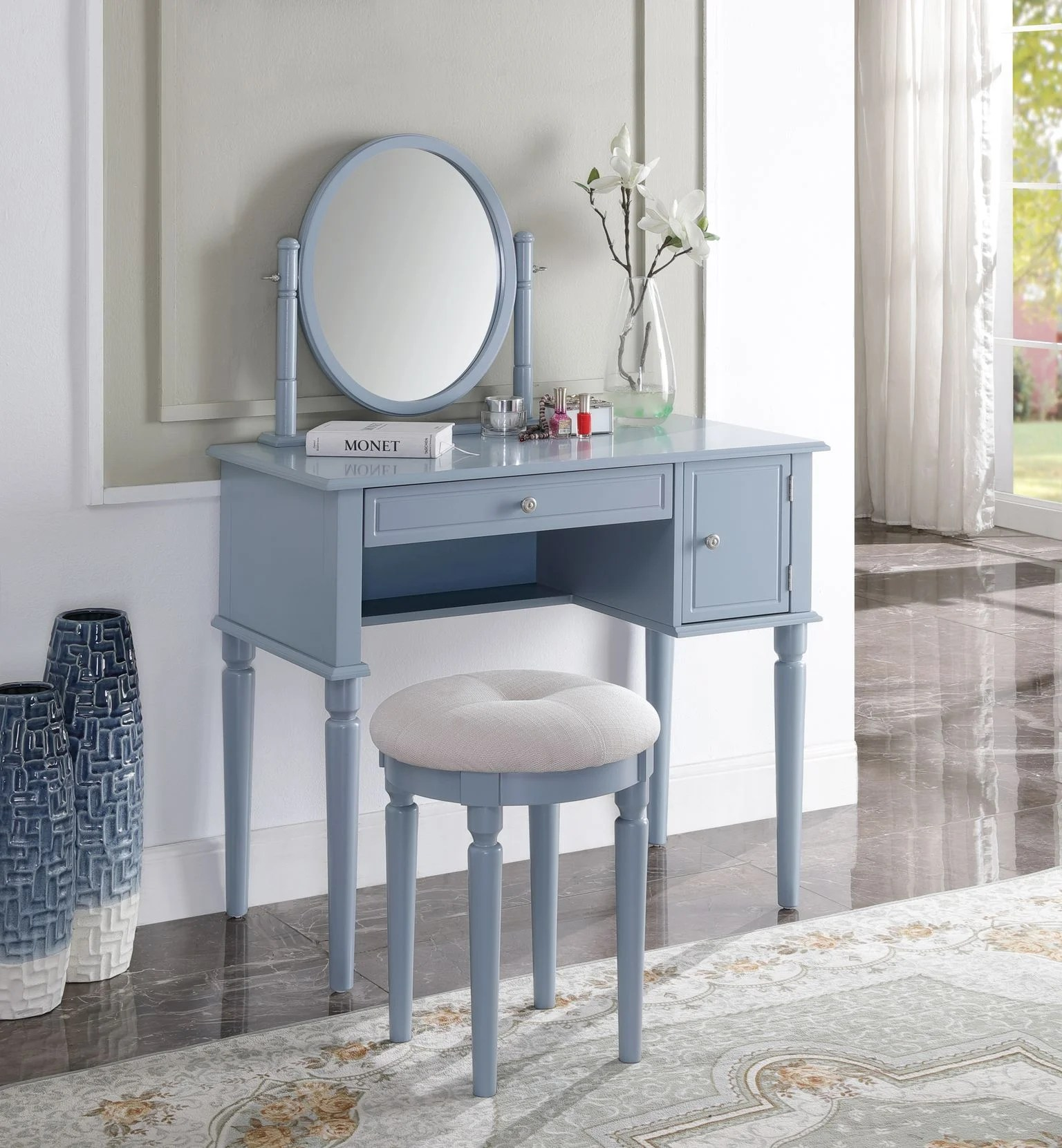 transitional style mirror table and stool vanity set with in cream fabric and gray finish