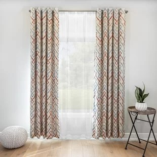 vera geometric blackout extra wide grommet curtain panels set of 2