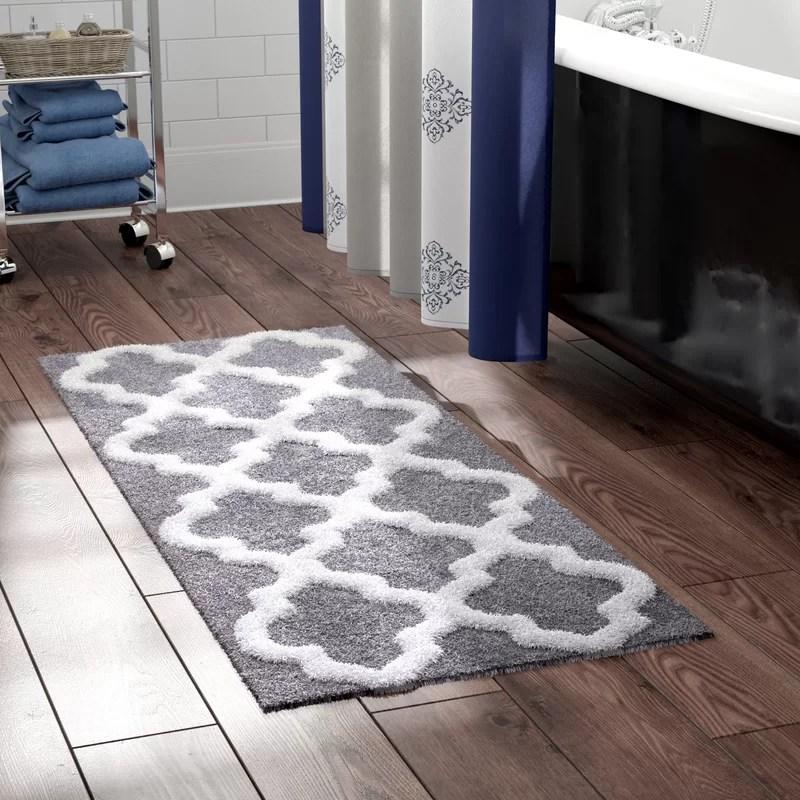 The Twillery Co Long Trellis Rectangular 100 Cotton Non Slip Geometric Bath Rug Reviews Wayfair Ca