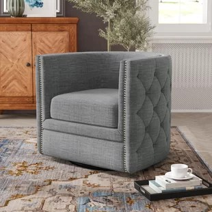 accent chair gray lumbar support pillow for grey chairs you ll love wayfair aiana swivel barrel