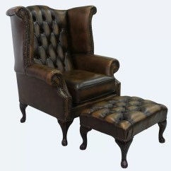 Queen Anne Wingback Chair Leather Fishing Bar Stools Marlow Home Co Childress And Footstool