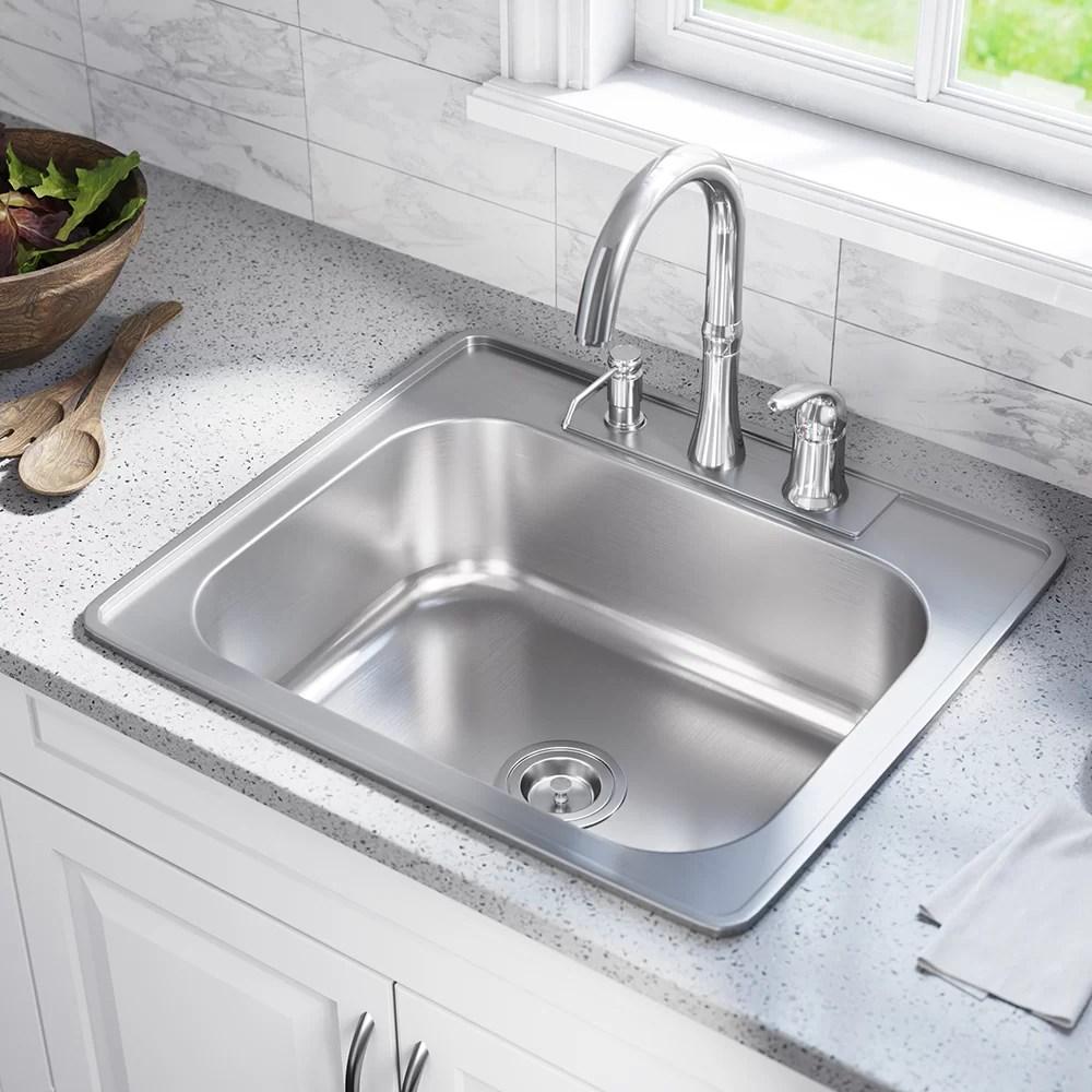 stainless steel 25 x 22 drop in kitchen sink